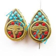 (5 pieces/lot)Nepal Tibetan Type Manual Antique Bead, Flat Teardrop Brass Embed Imitation Turquoises H64480 21x18x9mm
