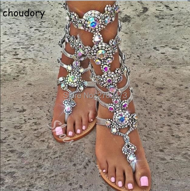 Knee High Buckle Strap Flats Sandal Boots Gladiator Summer Rhinestone Woman Boots Shoes Bohemia Style Crystal Beach Shoes 2017 summer sandals women bohemia rhinestone flats shoes roman style gold gladiator sandals women shoes crystal snake boots