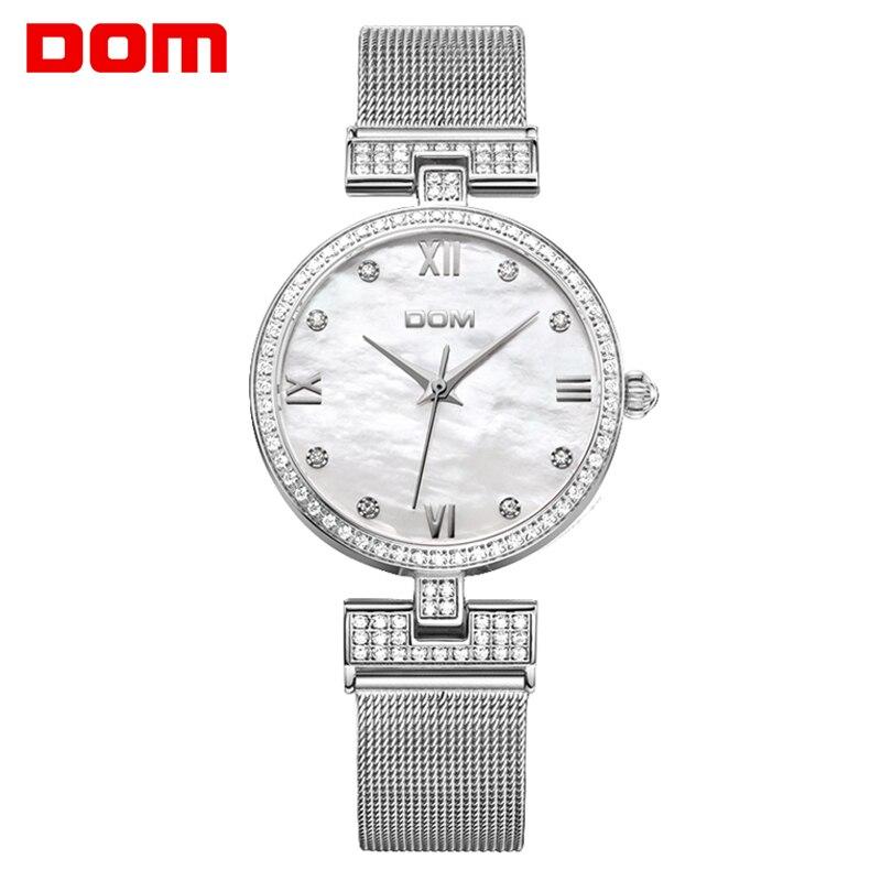 цена на DOM Women's Fashion Mesh steel belt Watches Womens Females Quartz-watch Ladies Brands Wristwatch Relojes Mujer G-1065G-7M