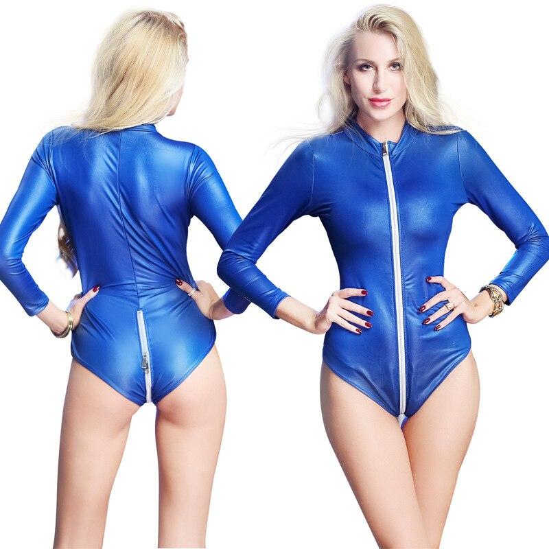 3 Colors Zipper Sexy Leather Jumpsuit Long Sleeve Erotic Bodysuit Female  Exotic Night Club Sexy Wear Vinyl Plus Size Body Suit