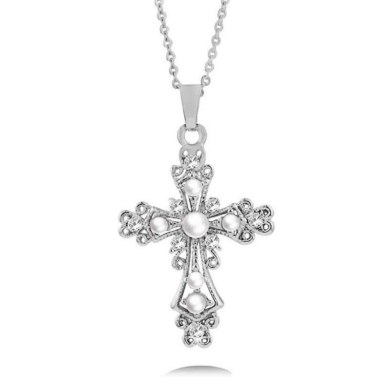 LEEKER Vintage Baroque Style Imitation Pearl Hollow Cross Pendant Necklace Women Silver Gold Color Chain 283 LK12