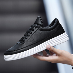 Image 1 - Mens Sneakers Spring White Sneakers Platform Shoes For Men Casual Shoes Black Leather Sneakers Comfortable Walking Shoes 2020