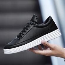 Sapatilhas masculinas primavera tênis branco sapatos de plataforma para homem sapatos casuais tênis de couro preto confortáveis sapatos de caminhada 2020