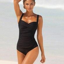 2018 One Piece Swimsuit Women Plus Size Swimwear Female Solid Bathing Suit Vintage Monokini Bodysuit Beach Wear Retro Swimwear