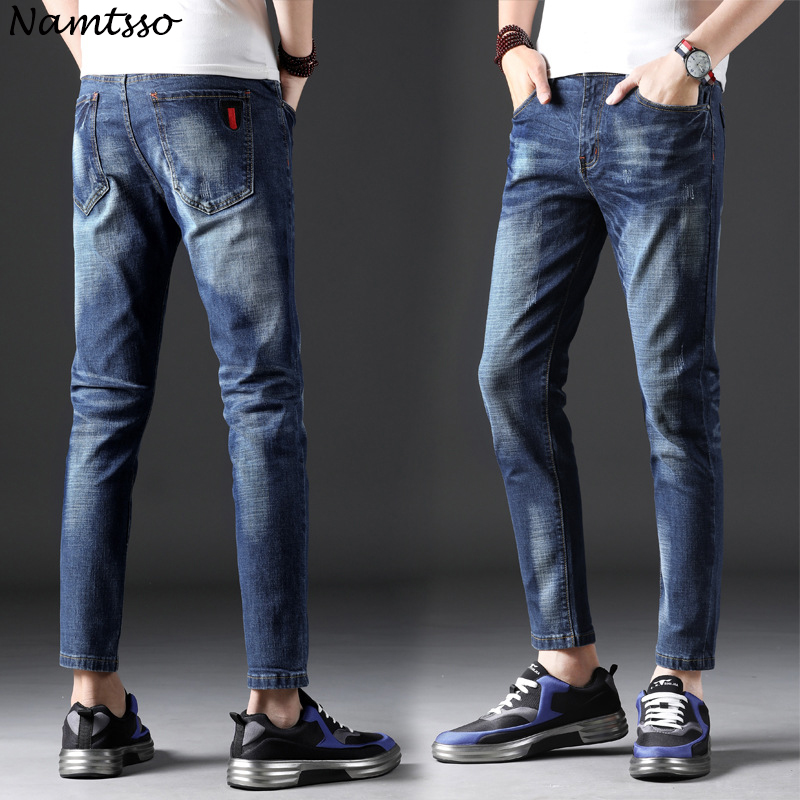 2018 summer new style mens jeans Korean fashion wild straight Slim casual stretch thin section nine jeans tide men