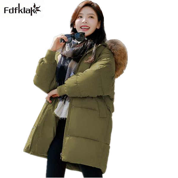 Winter jacket women cotton-padded thickening warm coat women's wadded jackets fur hood snow wear outerwear coats and parkas zewa everyday 100