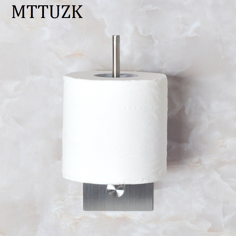 MTTUZK 304 stainless steel bathroom roll paper holder toilet paper towel rack toilet no trace viscose free perforated wall hang 304 stainless steel door suction contact free touch wall toilet room bedroom anti collision magnet
