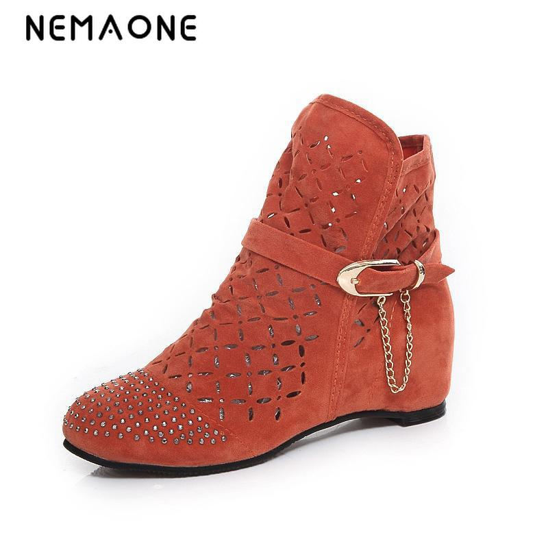 NEMAONE Fashion Big size 43 Summer Boots Women Flock Flat shoes Low Hidden Wedges Solid Cut-outs Ankle Boot Ladies Casual Shoes