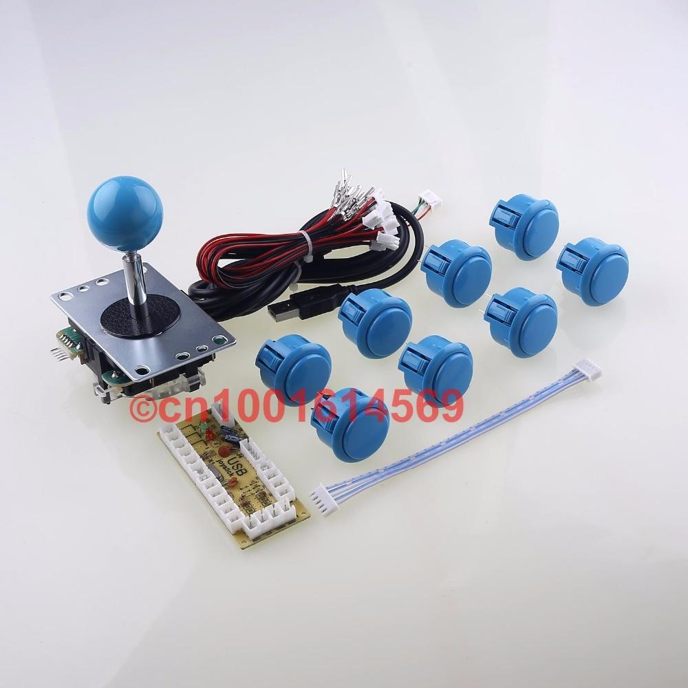 DIY Arcade Joystick Kit Arcade DIY Kit MAME Zero Delay USB Encoder To PC Arcade Sanwa Joystick + Sanwa Push Buttons - Blue Color new mini arcade machines diy kits parts zero delay encoder circuit board