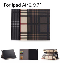 For Apple iPad Air 1/2 case Cover With Card Slots Business Plaid PU Leather Protective Skin Case Cover Tablet Accessories+gifts