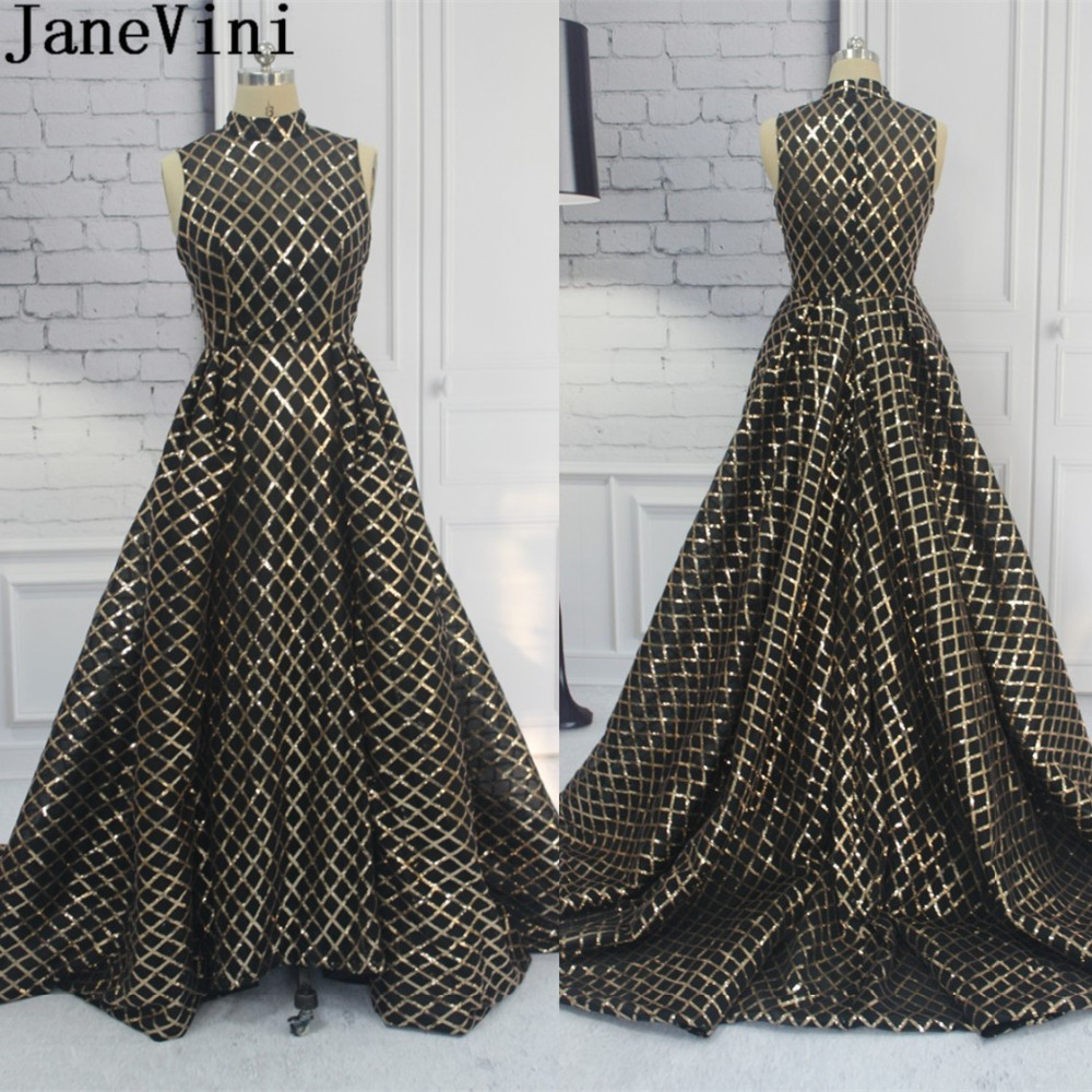 JaneVini 2018 Bling Gold Sequins Formal   Dress   Long Saudi Arabia Luxury Women High Neck Gala   Dress   Sweep Train   Bridesmaid     Dresses