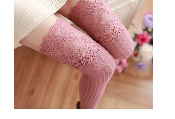 1pair/lot free shipping striped Thigh High Stockings Women Lace Sexy Cotton Stocking Autumn Winter Warm stocking free size