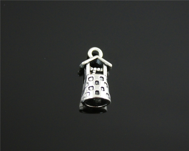 """50pcs 17*9*8mm (0.67""""x 0.35""""x 0.31"""") 3D Vintage Well Antique Bronze Antique Silver charm for DIY Jewelry Making"""