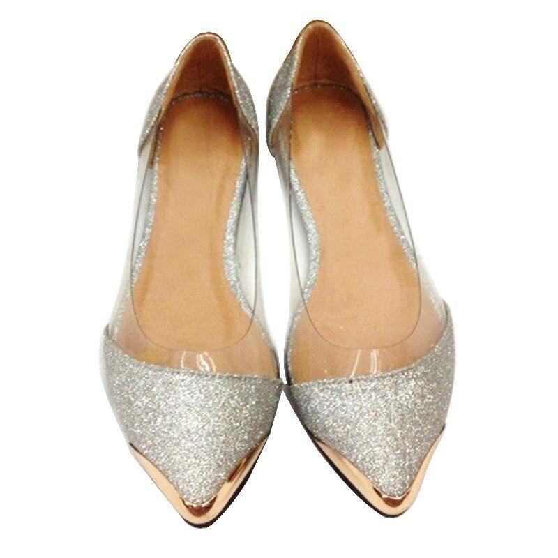 Estilo europeo y Americano sparkling Glitter lentejuelas señaló zapatos planos z