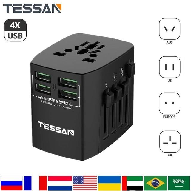 تيسان الكل في واحد قابس كهرباء للسفر محول الجدار شاحن مع 4 منافذ USB مخرج تيار متردد عالمي المقابس مهايئ عام