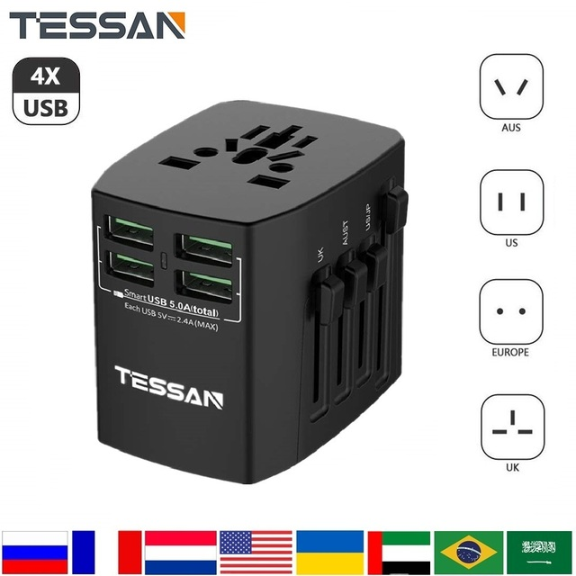 TESSAN All In One International Travel Plug Adapter Wall Charger with 4 USB Ports Universal AC Outlet Plugs Universal Adapter