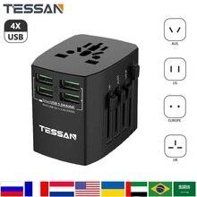 TESSAN cargador de pared con adaptador de enchufe de viaje internacional todo en uno con 4 puertos USB adaptador Universal de enchufes de salida de CA