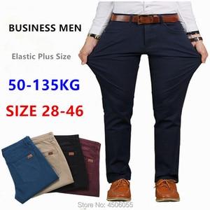 Image 1 - Pants Men Business Straight Cotton Trousers Stretch Man Elastic Slim Fit Casual Big Plus Size 42 44 46 Black Khaki Red Blue Pant