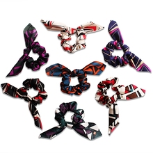 New Large Intestine Elastic Hair Bands Girls Rabbit Ear Rope Geometric Pringted Soft Headband for Women Accessories