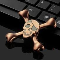 Skull Anxiety Stress Relief Focus Sensory Fidget Toys ADHD EDC Hand Fidget Spinner 5 Min Spinning Metal Finger Spinner