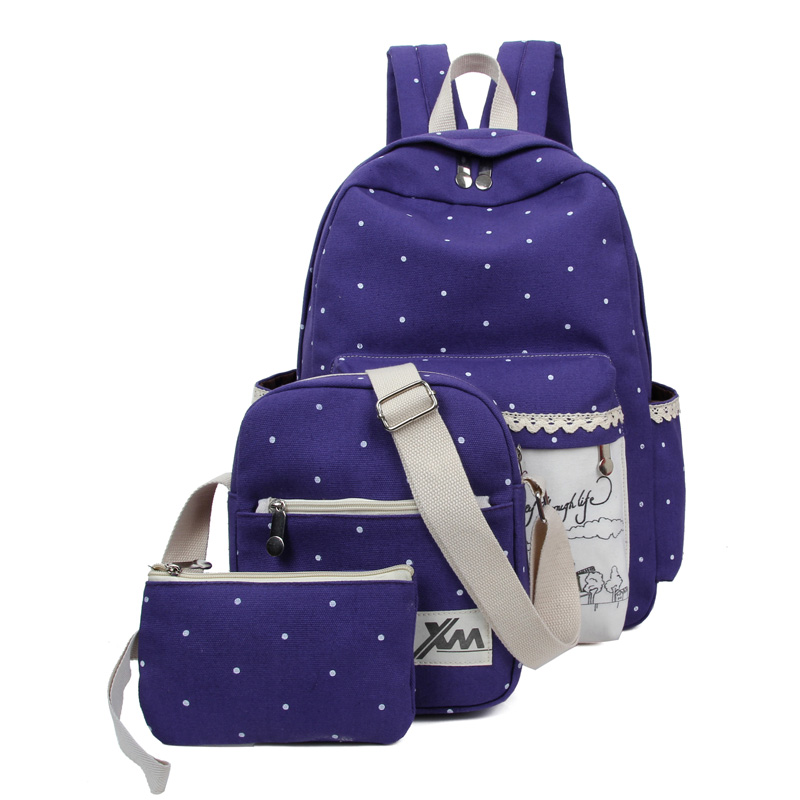 New casual women backpack canvas school bags travel printing backpacks for teenage girls dots women bag set Q5