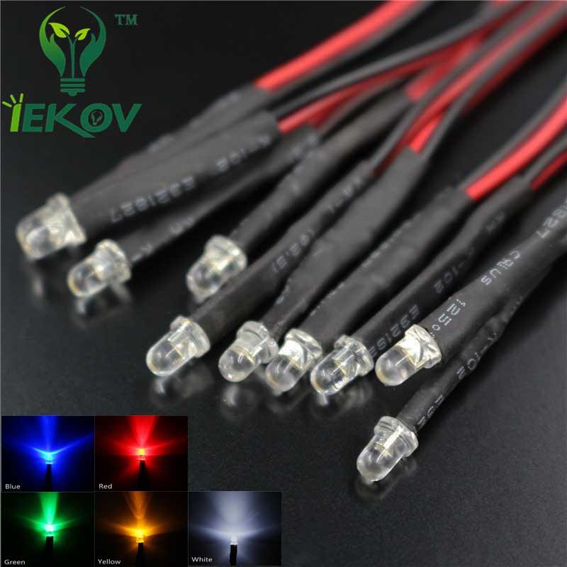 50pcs led 3mm led diode 12v pre wired white red blue green. Black Bedroom Furniture Sets. Home Design Ideas
