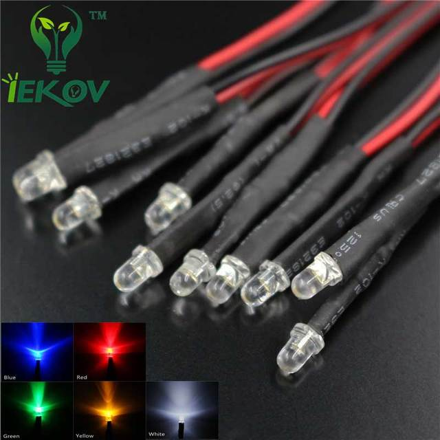 50pcs LED 3mm LED DIODE 12V Pre Wired White Red Blue Green Yellow ...