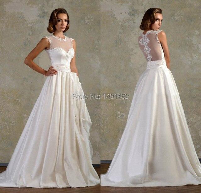 New Arrival Vestidos De Noivas Vintage Simple Plus Size Wedding Dress Short Sleeve A Line With