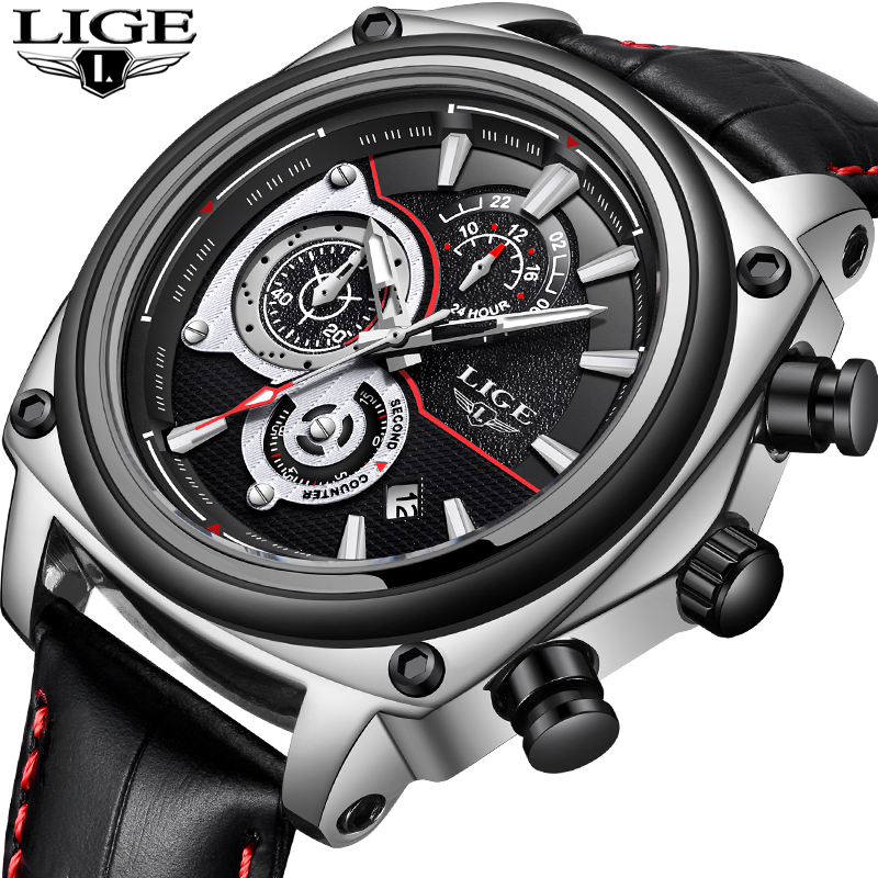 лучшая цена New LIGE Men Watches Top Brand Luxury Large Dial Leather Quartz Watch Men Military Waterproof Sport Watch Male Relogio Masculino