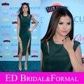 Selena Gomez Emerald Green Dress  2013 Teen Choice Award Satin  Double Thigh High Slits Celebrity Prom Evening Dress