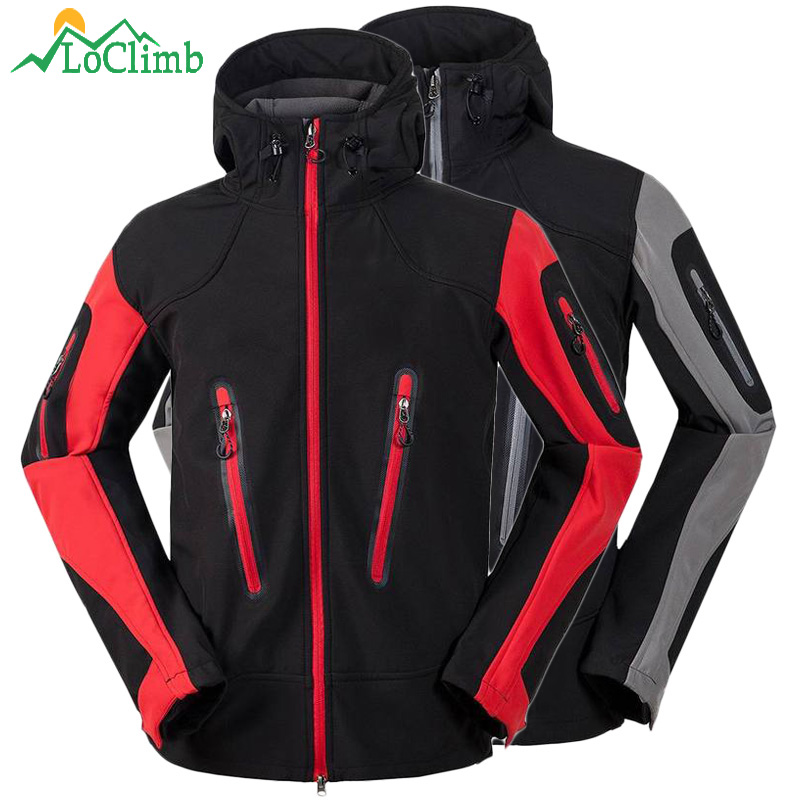 LoClimb Waterproof Softshell Ski Jacket Men Winter Outdoor Trekking Climbing Sport Coats Windproof Camping Hiking Jackets,AM100