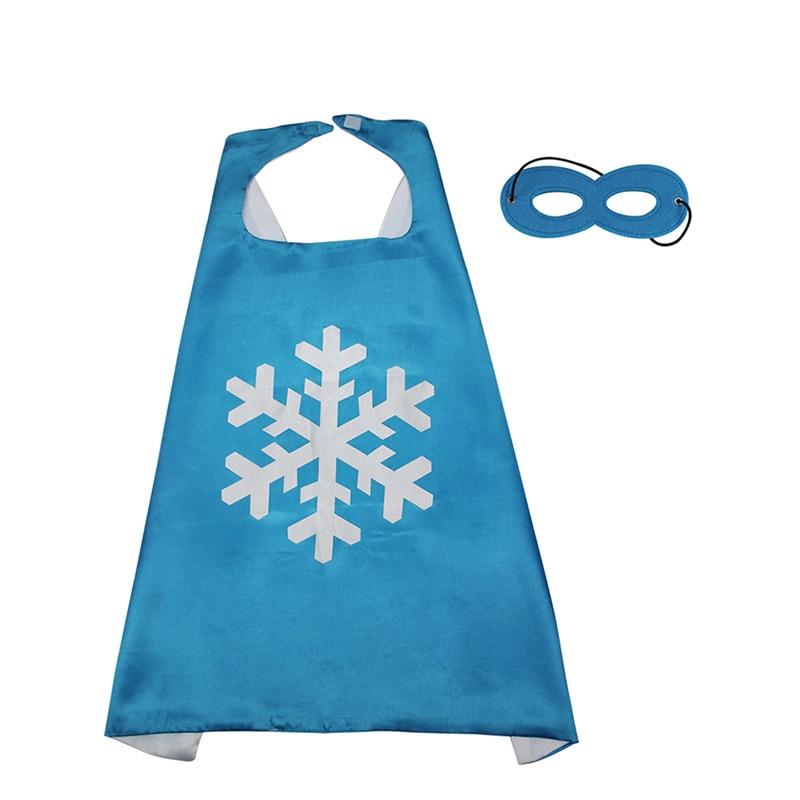Children Unisex Halloween Costumes Blue Cloak With Snowflake Princess Elsa Cosplay Costume Robe Mask For Kids