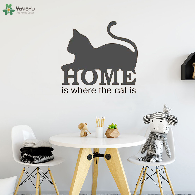 YOYOYU Wall Decal Cute Quote Sticker Home Is Where The Cat Is Modern Houseware Removable Motivational Words Art Decor MuralCT546 in Wall Stickers from Home Garden
