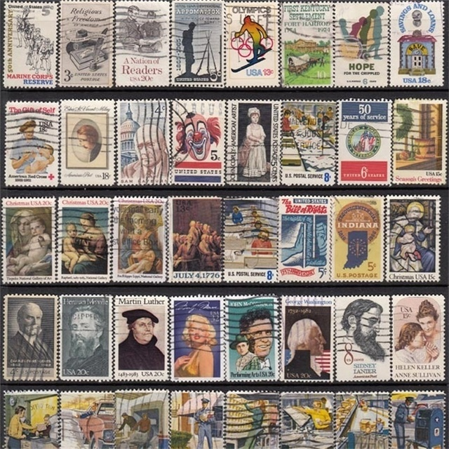 50000 PCS Global No Repeat Postage Stamp Collections From World With Post Mark Stamps Postal All