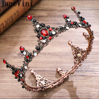 JaneVini Vintage Baroque Women Crowns And Tiaras Red Jewelry Pageant Prom Rhinestone Crystal Head Piece Wedding Hair Accessories