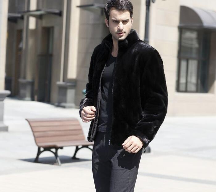 Winter Mens Faux Marten Fur Coats Thicken Warm Overcoat Mens Hair Mink Leather Jackets And Coats Masculino Chaqueta Hombre Black Jackets & Coats