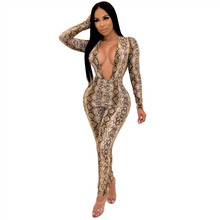 2261f28bbec Sexy Snake Print Jumpsuit Women Long Sleeve Skinny Snakeskin Animal Print  Bodycon Jumpsuit Long Pants Rompers