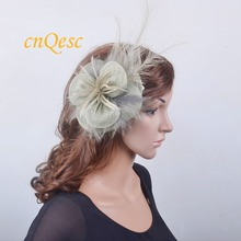 Grey Sinamay fascinator hatinator fedora w/ long feather for Ascot,Kentucky Derby,wedding