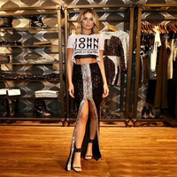 Women Fashion Black With Silver Sequin Skirt High Quality Women Sexy High Split Bodycon Long Summer Club Party Skirts Wholesale