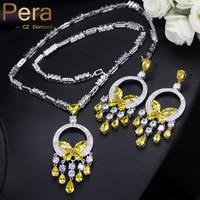 Pera Luxurious Big Yellow Stone Bohemian Women Wedding Party Jewelry Long Dangle Cubic Zirconia Necklace And