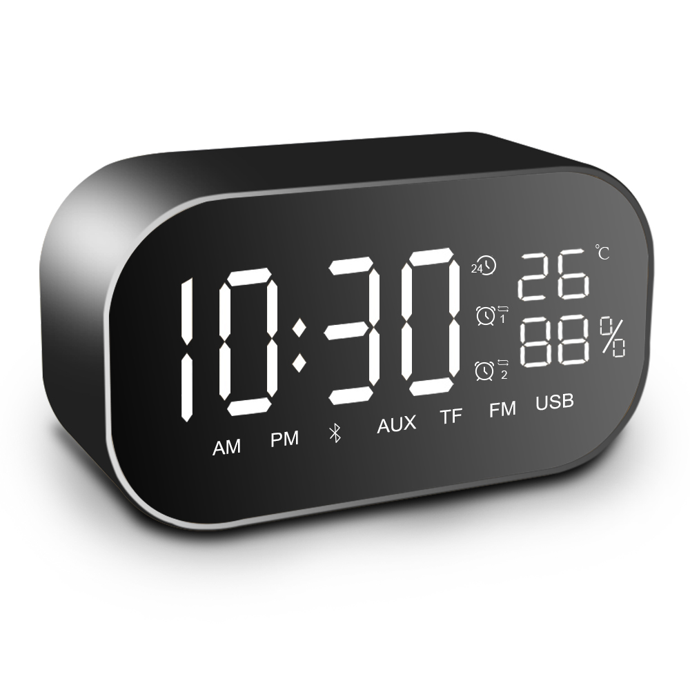 лучшая цена Portable Bluetooth Speaker Waterproof Built-in Mic with LCD Display Wireless Bluetooth Speakers with Alarm Clock Mirror
