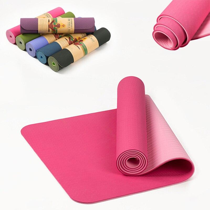 Tapis élastique antidérapant de Yoga de 6MM TPE pour la forme physique environnementale de débutant tapis d'exercice de gymnase de tapis multicolore de stratification de tapis de Pilates