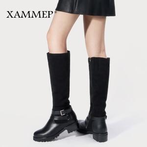 Image 1 - Женские зимние сапоги до колена, кожаные брендовые сапоги больших размеров, женская зимняя обувь из шерсти и плюша
