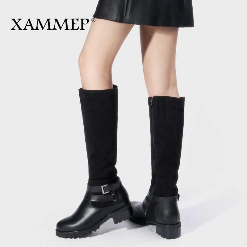 Phụ Nữ Mùa Đông Giày Đầu Gối Giày Cao Cổ Size Lớn Da Cao Cấp Thương Hiệu Nữ Giày Nữ Len Và Sang Trọng Nữ Mùa Đông Giày