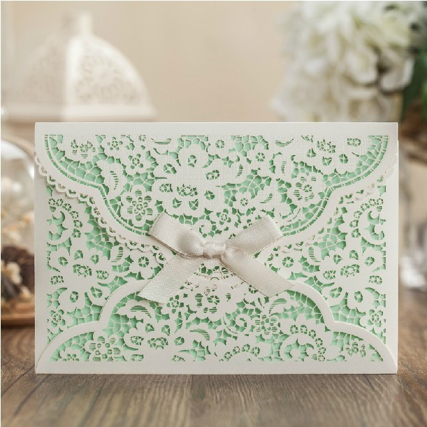 Mint White Flower Wedding Invitation Envelope Ribbon Laser Cut