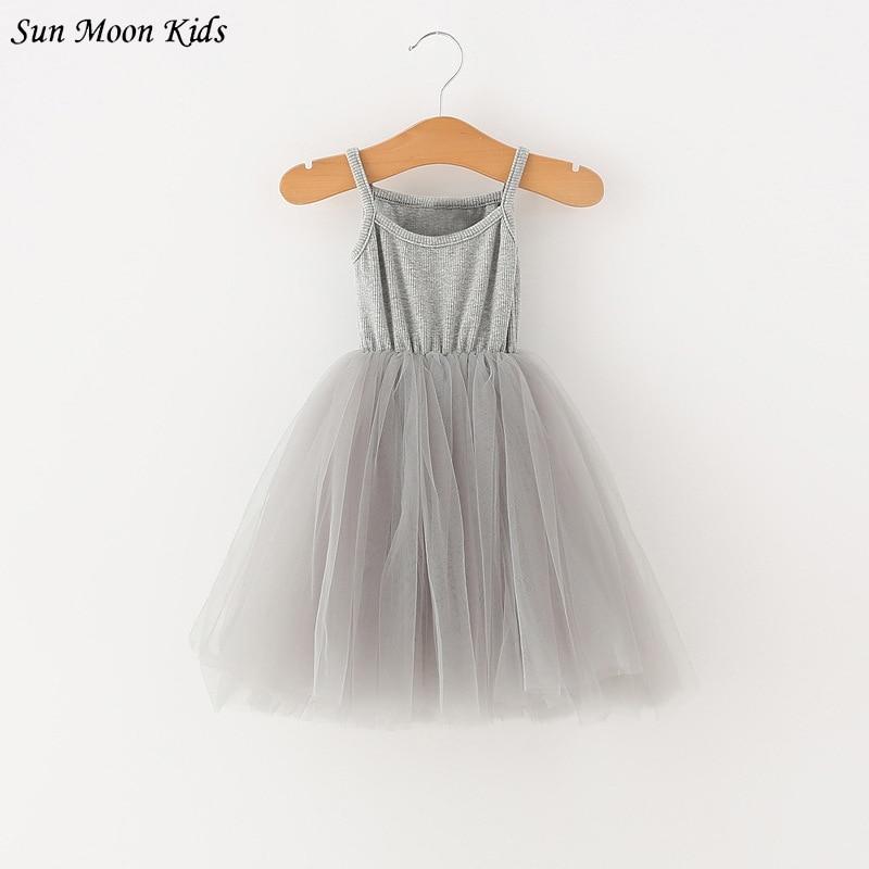 Sun Moon Kids 2017 New Girls Dress Summer Sleeveless Girls Dress Casual Harness Ball Gown Wedding Party Princess Tutu Dresses moon flac jeans