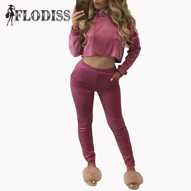 FLODISS Tracksuit 2017 New Fashion Women Sweatsuit Hoodies 2 Pieces Set Pink Hooded Sweatshirt Crop Top and Pants Sporting Suits