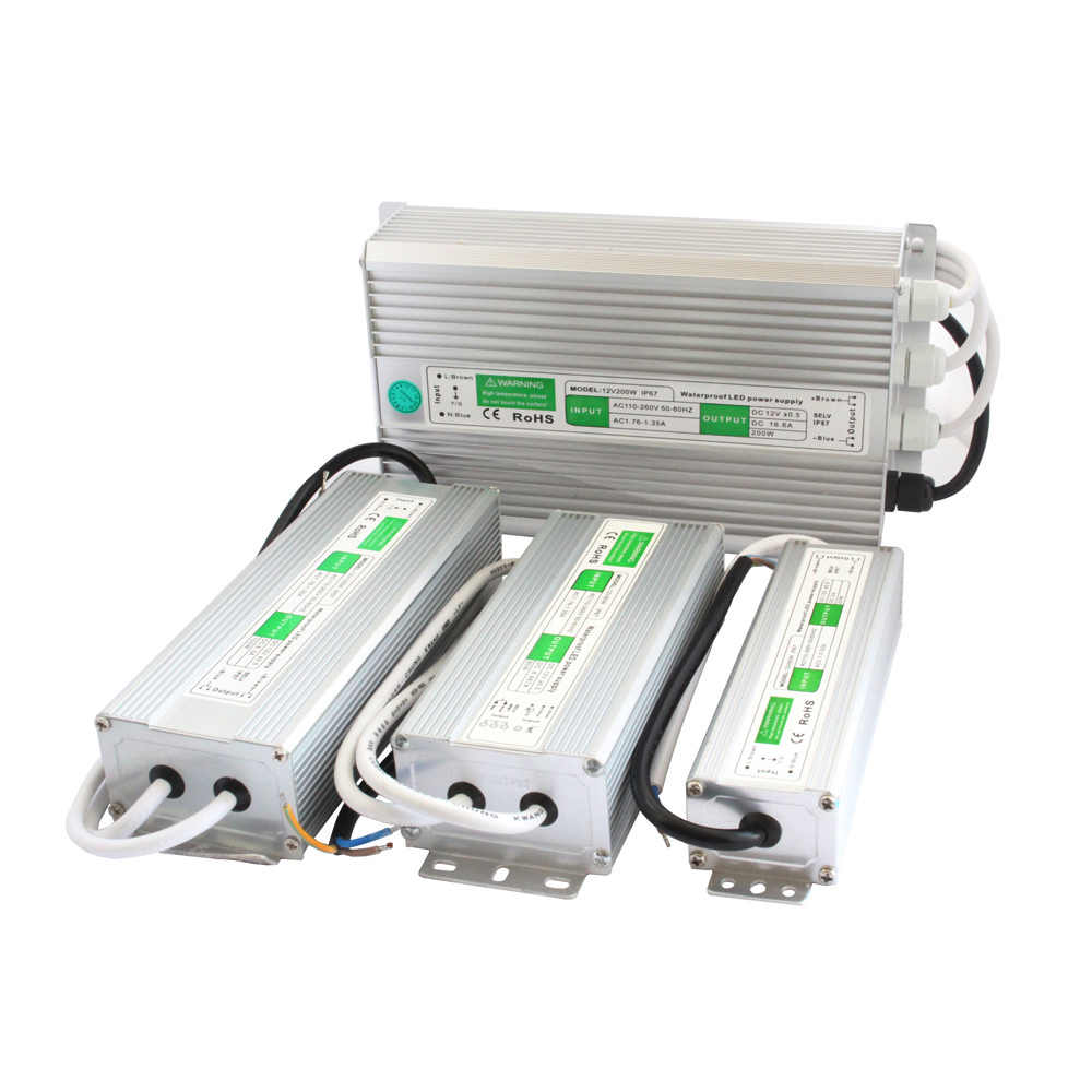 12 вольт Питание 24 трансформатор напряжения 220 V 24 V 12 V Водонепроницаемый IP67 светодиодный драйвер 12В Питание блок для Светодиодные ленты на открытом воздухе