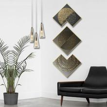 Creative irregular 3pcs/set INS industrial wind Obsidian living room background wall painting corridor Hotel decorative