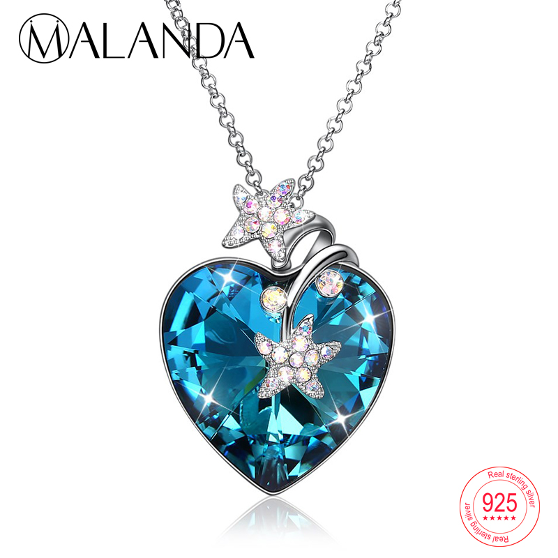 MALANDA Heart shaped Crystal Pendant Long Sweater Chain Necklaces For Women Lover Crystal From Swarovski Sterling Silver Jewelry a suit of graceful heart key pendant necklaces jewelry for lover